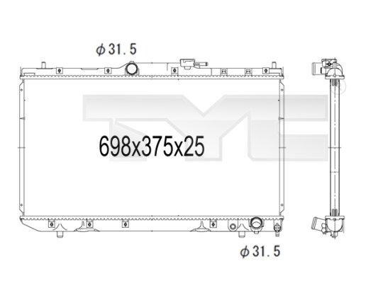 Radiateur, refroidissement du moteur - TYC - 736-1007