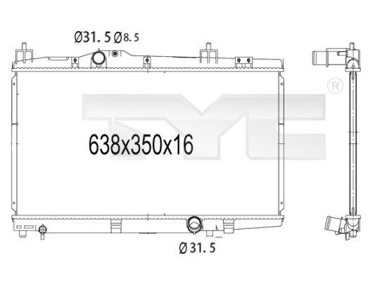 Radiateur, refroidissement du moteur - TYC - 736-1008