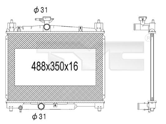 Radiateur, refroidissement du moteur - TYC - 736-1009