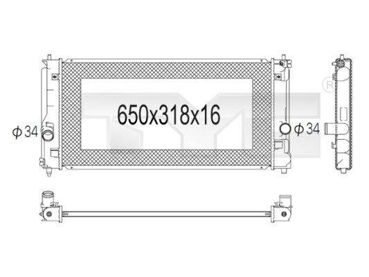 Radiateur, refroidissement du moteur - TYC - 736-1021