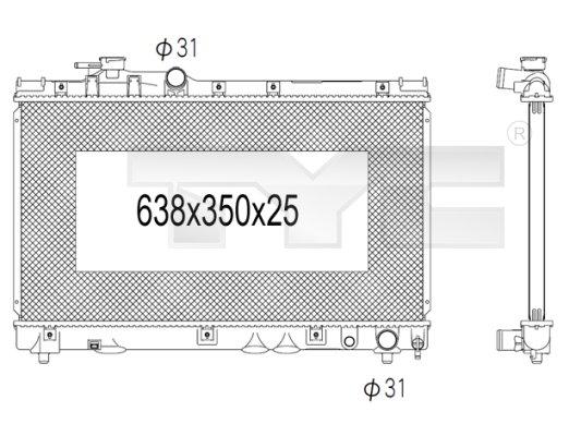 Radiateur, refroidissement du moteur - TYC - 736-1023