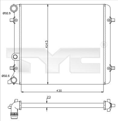 Radiateur, refroidissement du moteur - TYC - 737-0010