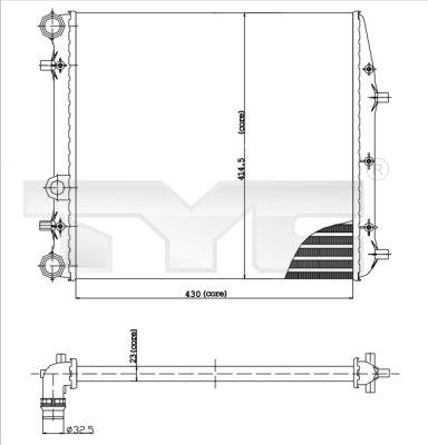 Radiateur, refroidissement du moteur - TYC - 737-0013