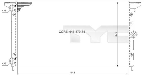 Radiateur, refroidissement du moteur - TYC - 737-0014