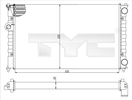 Radiateur, refroidissement du moteur - TYC - 737-0016