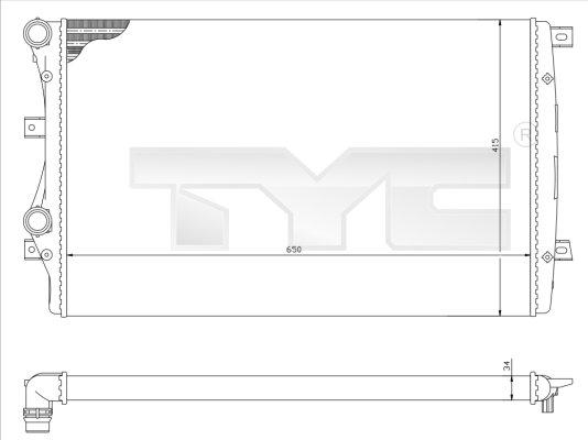 Radiateur, refroidissement du moteur - TYC - 737-0017-R