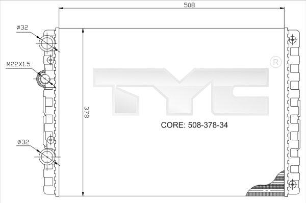 Radiateur, refroidissement du moteur - TYC - 737-0024