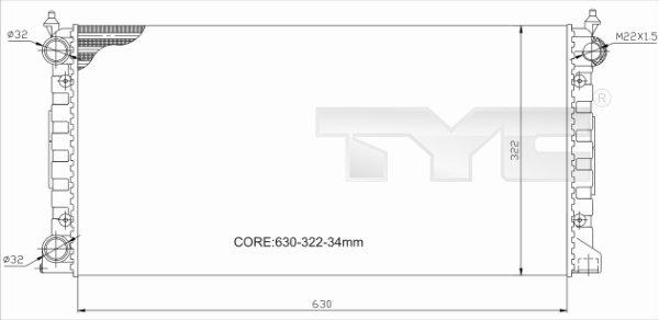 Radiateur, refroidissement du moteur - TYC - 737-0034-R