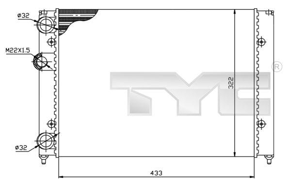 Radiateur, refroidissement du moteur - TYC - 737-0039