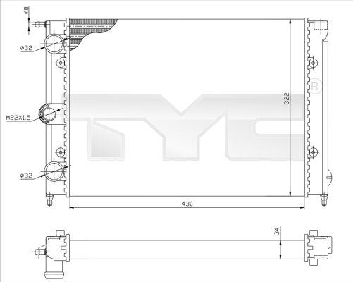 Radiateur, refroidissement du moteur - TYC - 737-0050