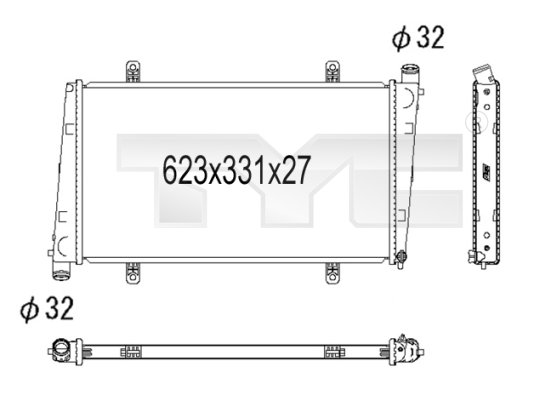 Radiateur, refroidissement du moteur - TYC - 738-1001