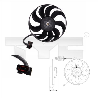Ventilateur, refroidissement du moteur - TYC - 837-0001