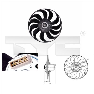 Ventilateur, refroidissement du moteur - TYC - 837-0019