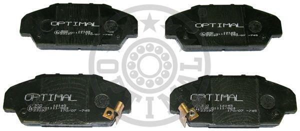 Kit de plaquettes de frein, frein à disque - OPTIMAL - 12145