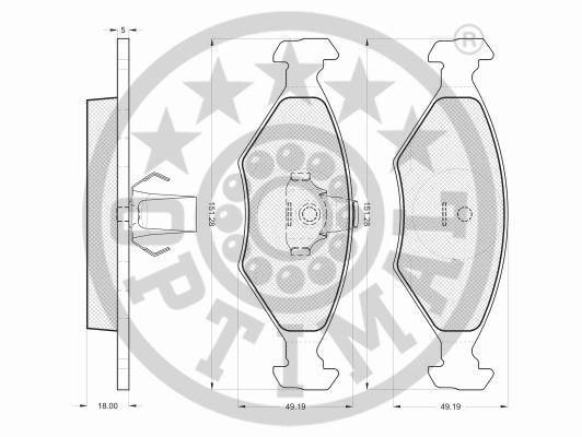 Kit de plaquettes de frein, frein à disque - OPTIMAL - 12182