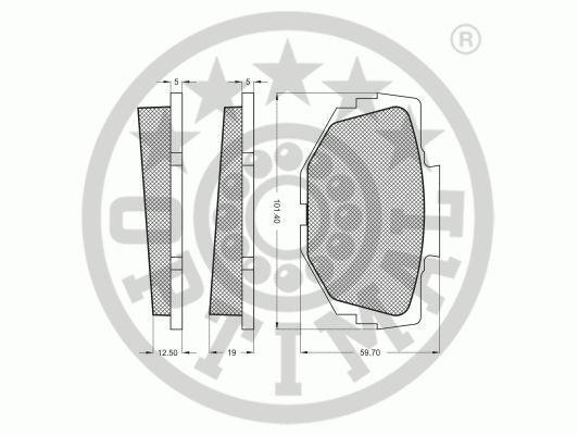 Kit de plaquettes de frein, frein à disque - OPTIMAL - 6203