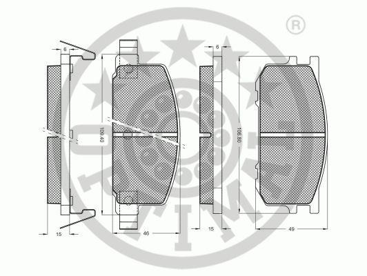 Kit de plaquettes de frein, frein à disque - OPTIMAL - 9216