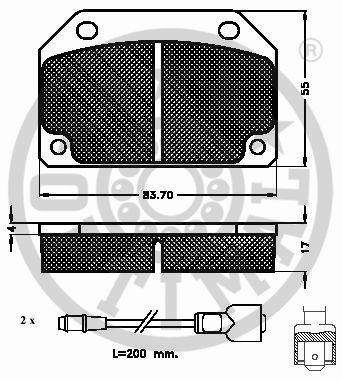 Kit de plaquettes de frein, frein à disque - OPTIMAL - 9341