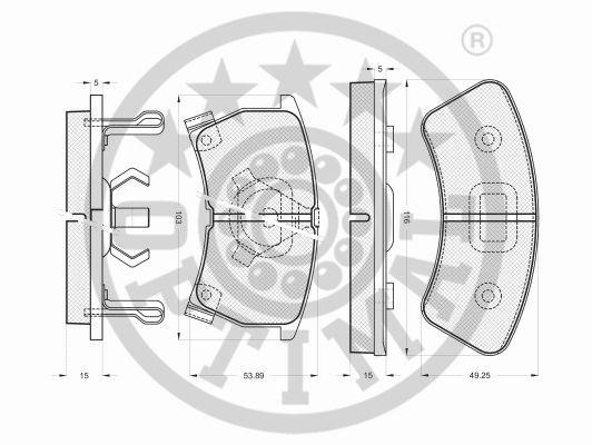 Kit de plaquettes de frein, frein à disque - OPTIMAL - 9463