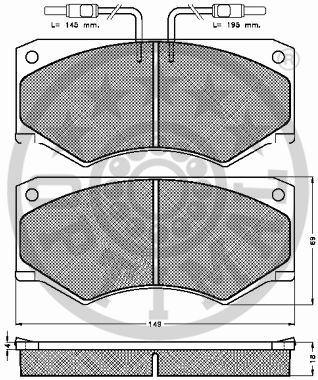 Kit de plaquettes de frein, frein à disque - OPTIMAL - 9523