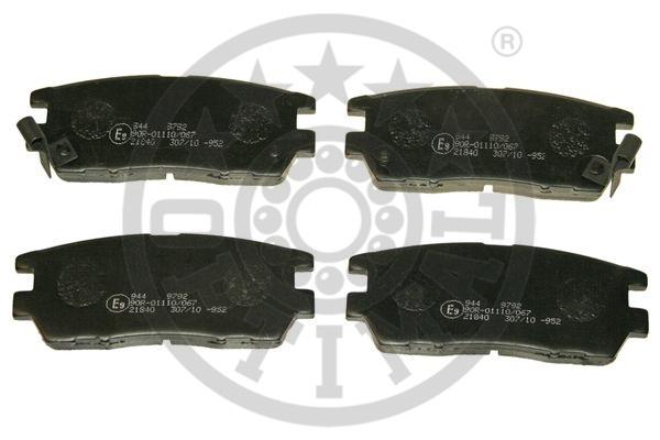Kit de plaquettes de frein, frein à disque - OPTIMAL - 9792