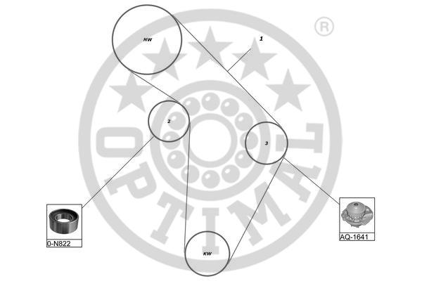 Pompe à eau + kit de courroie de distribution - OPTIMAL - SK-1043AQ1