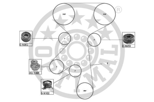 Pompe à eau + kit de courroie de distribution - OPTIMAL - SK-1073AQ1