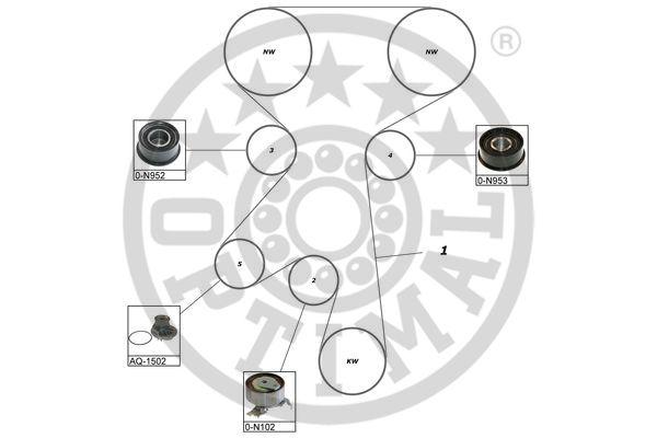 Pompe à eau + kit de courroie de distribution - OPTIMAL - SK-1073AQ3