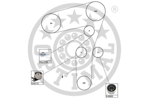 Pompe à eau + kit de courroie de distribution - OPTIMAL - SK-1112AQ1