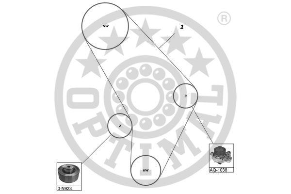 Pompe à eau + kit de courroie de distribution - OPTIMAL - SK-1126AQ1