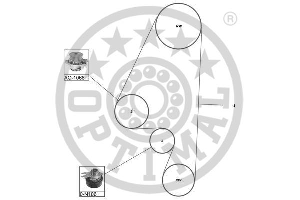 Pompe à eau + kit de courroie de distribution - OPTIMAL - SK-1131AQ2