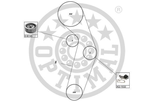 Pompe à eau + kit de courroie de distribution - OPTIMAL - SK-1338AQ2