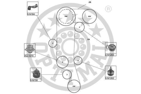 Pompe à eau + kit de courroie de distribution - OPTIMAL - SK-1511AQ1