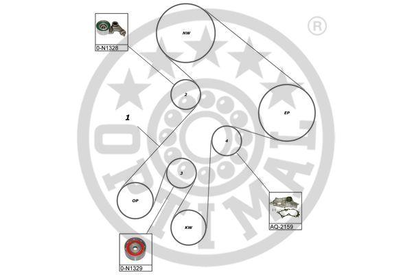 Pompe à eau + kit de courroie de distribution - OPTIMAL - SK-1589AQ1