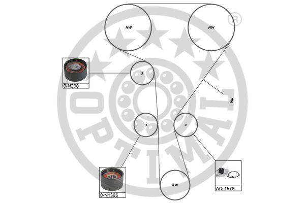 Pompe à eau + kit de courroie de distribution - OPTIMAL - SK-1624AQ1