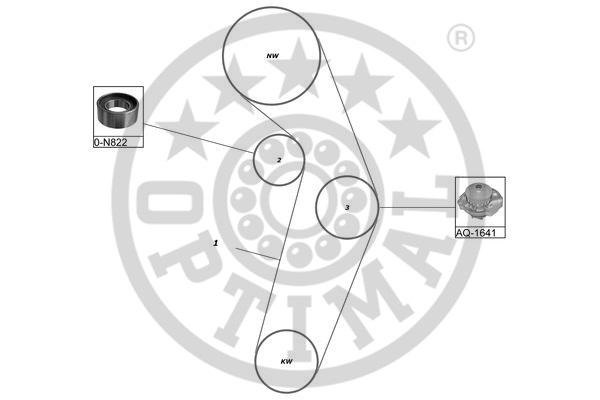 Pompe à eau + kit de courroie de distribution - OPTIMAL - SK-1665AQ1