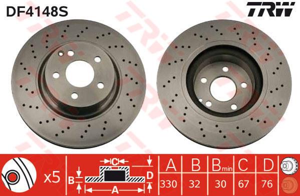 disque de frein unitaire prix pour 1 seul disque trw df4148s amapiece. Black Bedroom Furniture Sets. Home Design Ideas