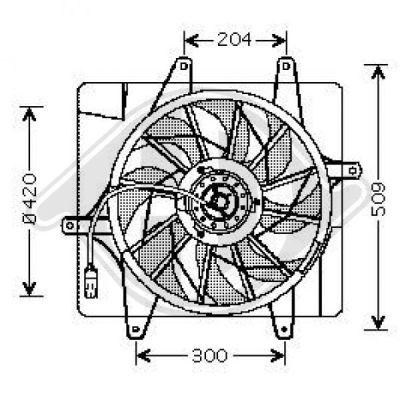 Ventilateur, condenseur de climatisation - Diederichs Germany - 2605001