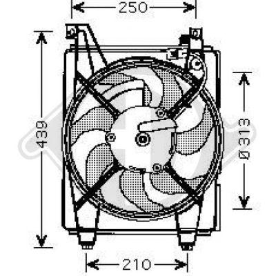 Ventilateur, condenseur de climatisation - Diederichs Germany - 6843001
