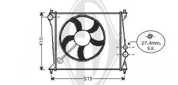 Radiateur, refroidissement du moteur - Diederichs Germany - 8100505