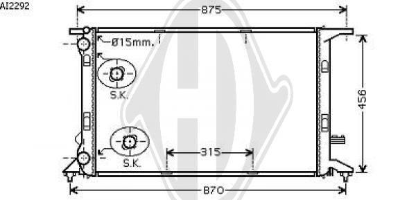 Radiateur, refroidissement du moteur - Diederichs Germany - 8101805