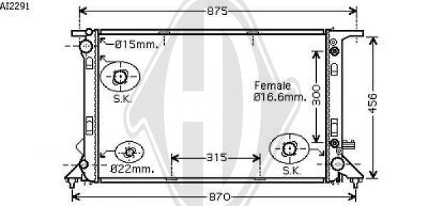 Radiateur, refroidissement du moteur - Diederichs Germany - 8101808