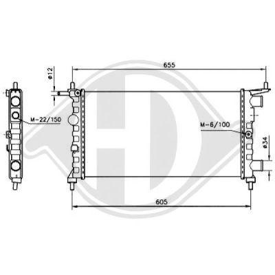 Radiateur, refroidissement du moteur - Diederichs Germany - 8125214
