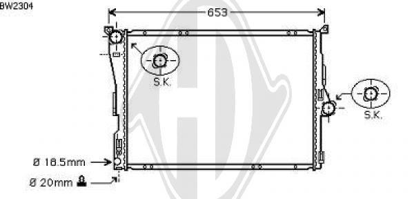 Radiateur, refroidissement du moteur - Diederichs Germany - 8127510