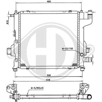 Radiateur, refroidissement du moteur - Diederichs Germany - 8129201