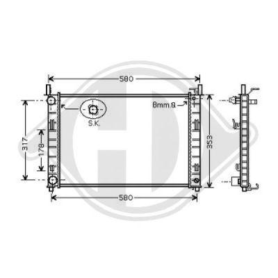 Radiateur, refroidissement du moteur - Diederichs Germany - 8140407
