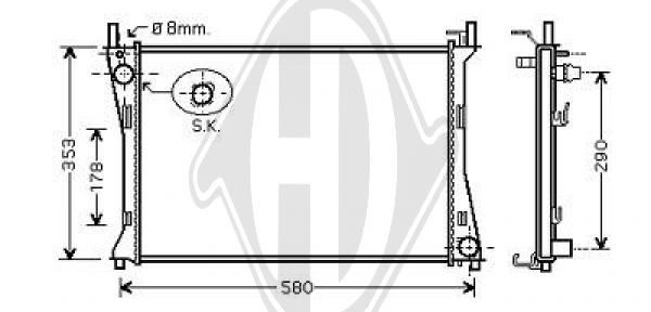 Radiateur, refroidissement du moteur - Diederichs Germany - 8140408