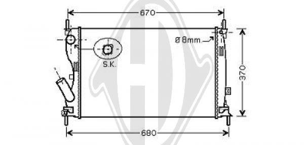 Radiateur, refroidissement du moteur - Diederichs Germany - 8140409