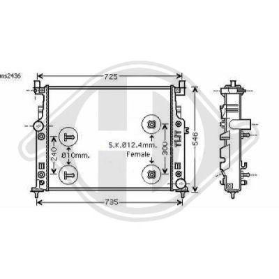 Radiateur, refroidissement du moteur - Diederichs Germany - 8169105