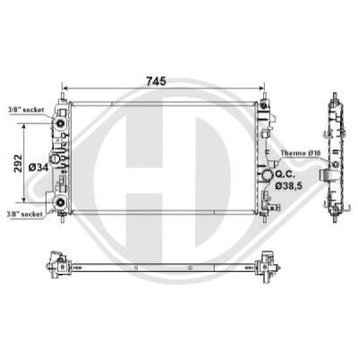Radiateur, refroidissement du moteur - Diederichs Germany - 8180708